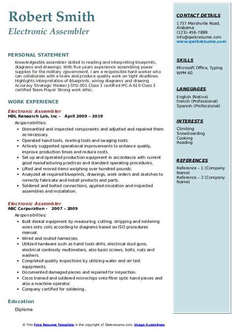 Hobby In Resume by Electronic Assembler Resume Sles Qwikresume