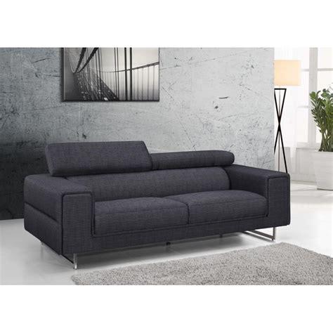 canap en tissu gris canapé droit design 3 places mario en tissu gris foncé