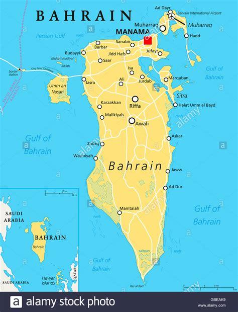 Bahrain political map with capital Manama. Island country ...