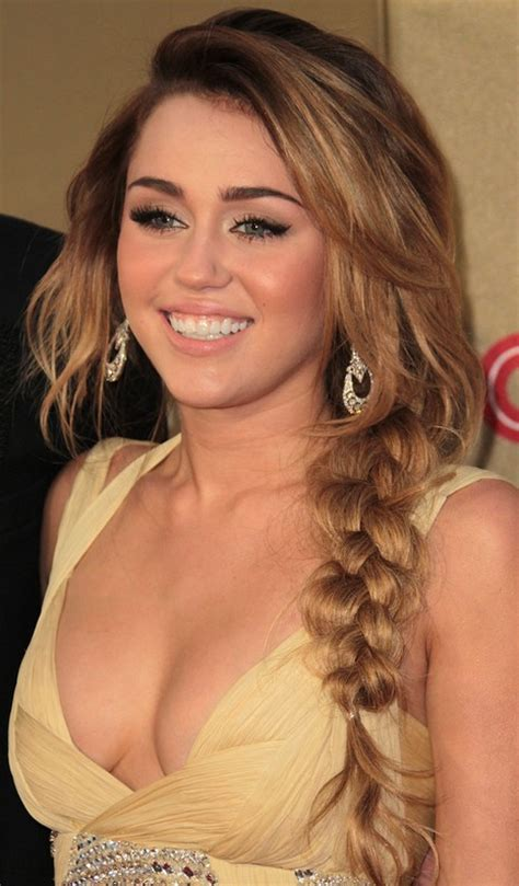 sexy side braided hairstyle for long hair miley cyrus