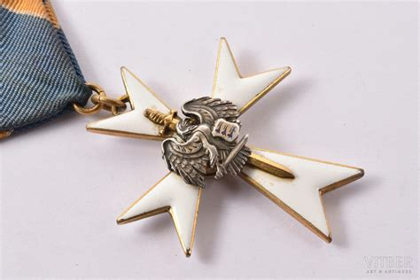 Kaitseliit (Aizsargu) Baltā Krusta ordenis, 3. pakāpe, Igaunija, 20.gs. 20-30ie gadi, 45.4 x 39 mm