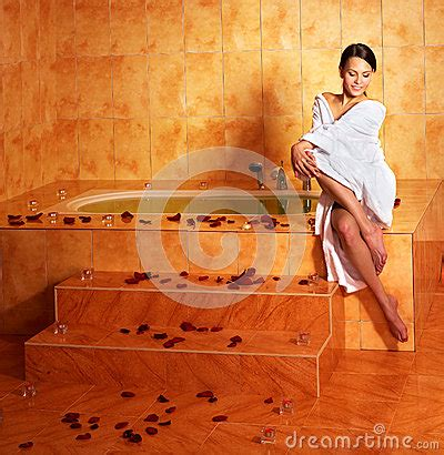 woman relaxing  bath stock photo image