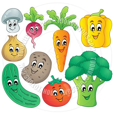 Cartoon Fruits and Vegetables Clip Art