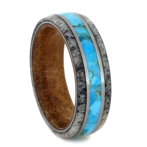 deer antler and turquoise ring mesquite wood wedding band