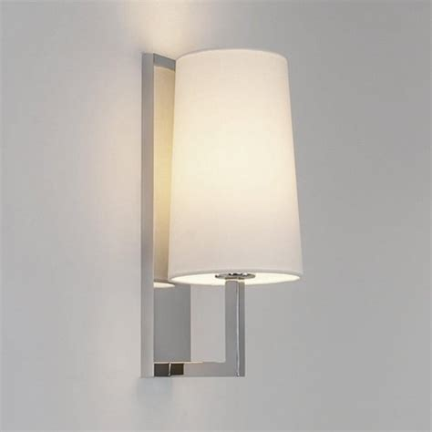 modern ip44 hotel style bathroom wall light with opal