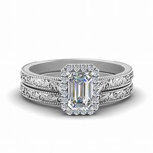 hand engraved radiant cut halo diamond wedding ring set With emerald cut wedding ring set