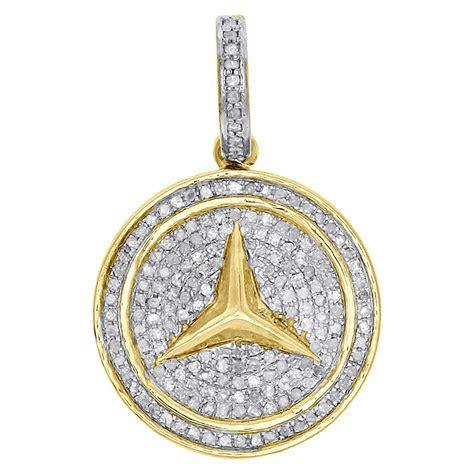 yellow gold genuine diamond mercedes medallion pendant