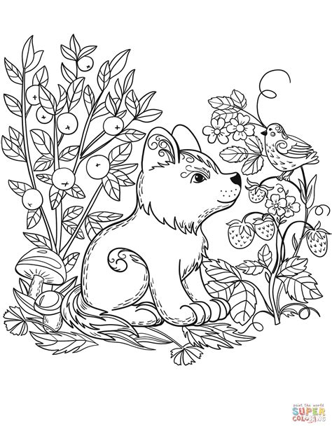 forest coloring pages puppy in the forest coloring page free printable