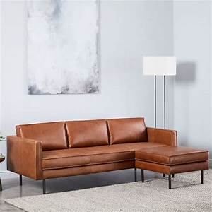 Axel leather sofa 89quot ottoman set west elm for West elm sectional sofa leather