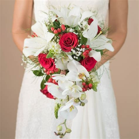 cascading orchid red roses bridal bouquet  day