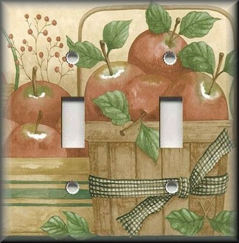 metal light switch plate cover country decor apple baskets