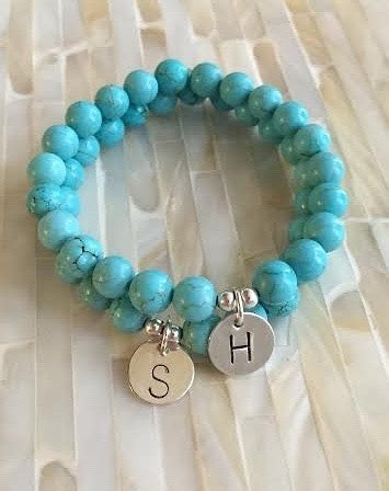 turquoise bead bracelet initial monogram kandsimpressions