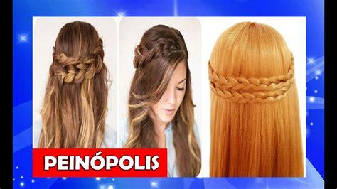 peinados semirecogidos  trenzas  cabello largo faciles  rapidos youtube