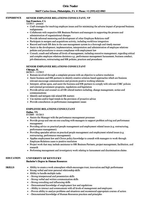 Employee Relations Resume by Employee Relations Consultant Resume Sles Velvet