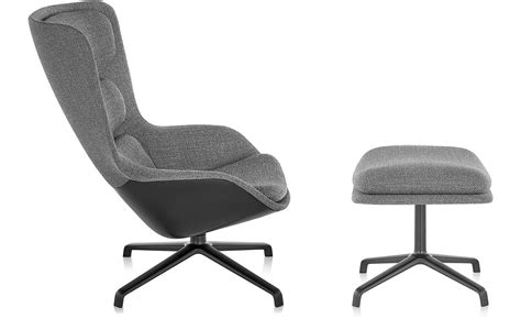 Striad™ High Back Lounge Chair & Ottoman With 4 Star Base