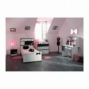 Chambre fille avec bureau disco noire et blanche achat for Chambre ado garçon avec matelas francais pas cher