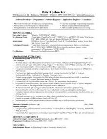 sle cover letter sle resume xml developer