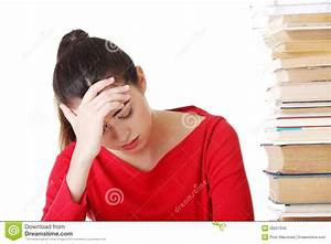 Sad Female Student With Learning Difficulties Stock Photo ...