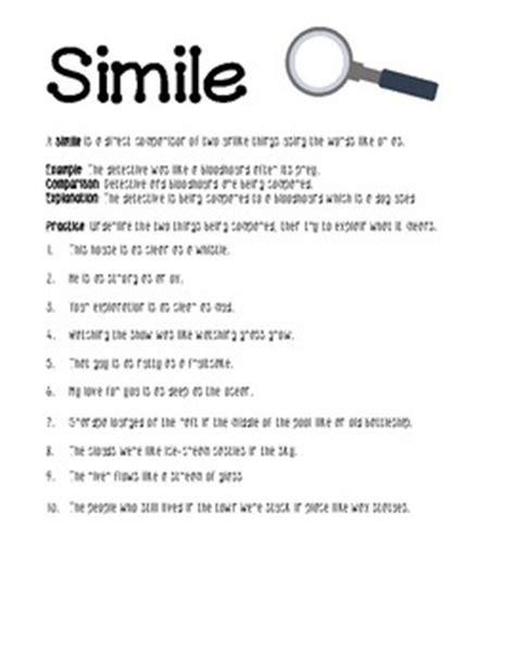 Simile Worksheet By Lisamillerphotos  Teachers Pay Teachers