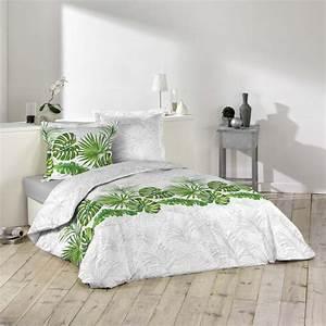 Parure De Lit Tropical : parure housse de couette amazone tropicale vert et blanc 100 coton j k markets ~ Teatrodelosmanantiales.com Idées de Décoration