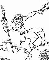 Spear Coloring Tarzan Designlooter sketch template