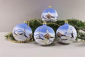 Weihnachtskugeln Glas Lauscha : 4 weihnachtskugeln 6cm mit landschaft hellblau ~ A.2002-acura-tl-radio.info Haus und Dekorationen