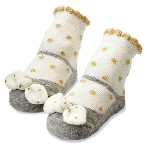 mud pie baby girls gold dot bow socks