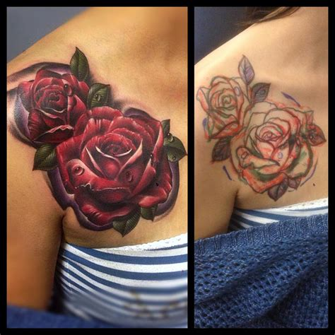 red roses cover  flower tattoo  tattoo ideas gallery