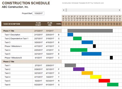 construction schedule template fee schedule template