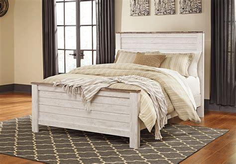 willowton whitewash queen panel bed evansville overstock