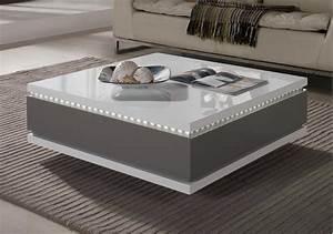 Table Basse Carrée Design : table basse carr e tiroirs laqu gris taupe led bozy ~ Teatrodelosmanantiales.com Idées de Décoration