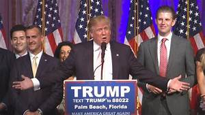 Presidential Candidate Donald Trump Delivers Victory
