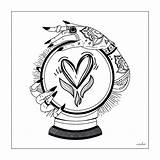 Crystal Ball Coloring Gypsy Tattoo sketch template