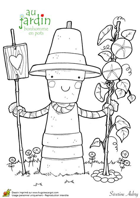 coloriage jardinage bonhomme en pots epouvantail