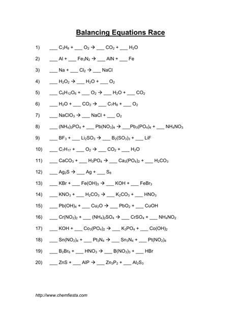 worksheet chemfiesta balancing equations worksheet