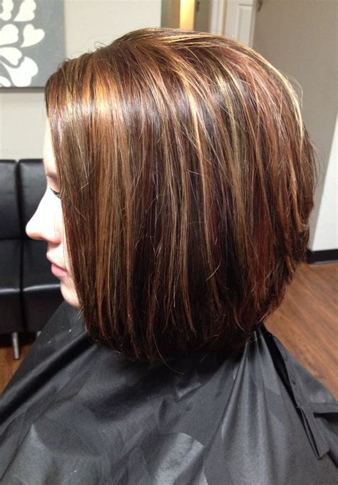Hair With Lowlights Hairstyles by Hair Color Lowlights And Highlights Cut Stacked In The