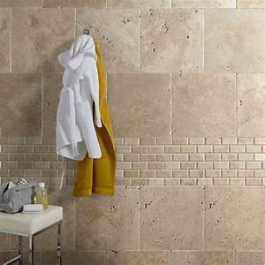 awesome salle de bain travertin beige gallery lalawgroup With salle de bain avec mur en pierre