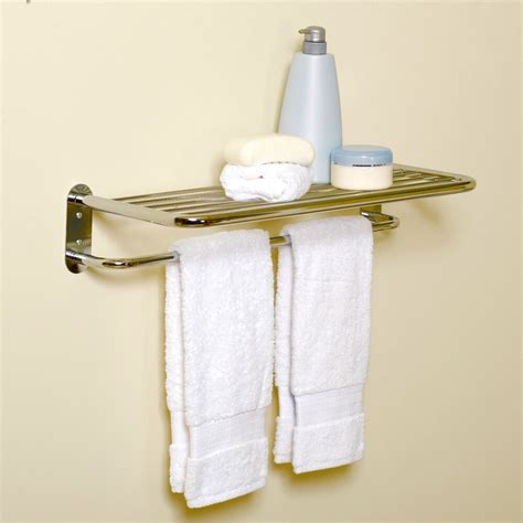 hotel bathroom wall mounted towel holder storage shelf