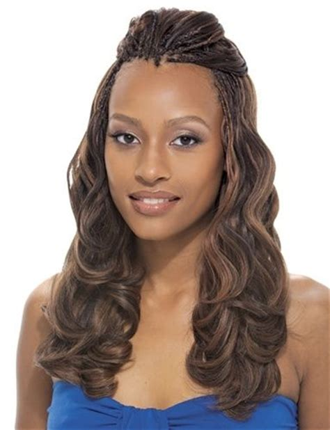 chic half up half down hairstyle for partial braids on