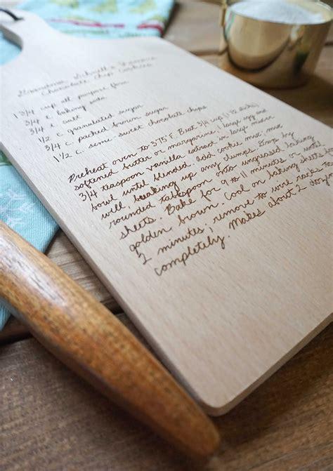 put  handwritten recipe   custom cutting board