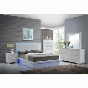 Saturn, Contemporary, 4, Piece, Queen, Bedroom, Set, In, White, Lacquer, With, Led, Lights