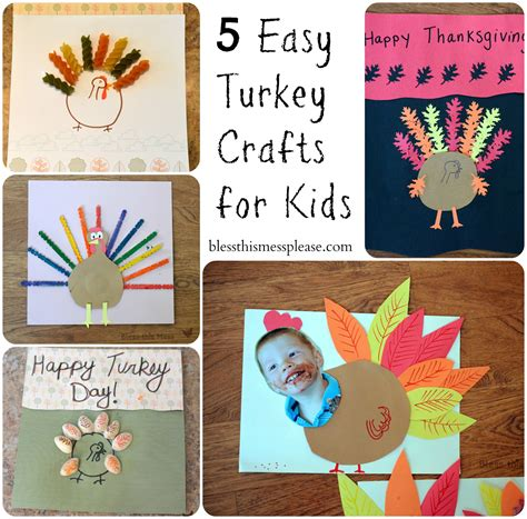 5 easy turkey crafts for bless this mess 638 | 5 turkey Thanksgiving craft for kids preschool families easy