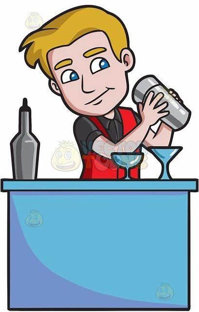 Bartender Clipart Shaking Barkeeper Cocktail Bar Behind