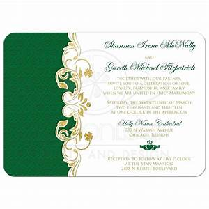 lucky in love wedding invitation white green gold With foil wedding invitations ireland