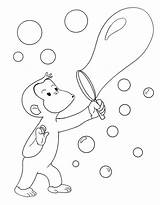 Blowing Pages Bubbles Coloring Curious George Template Whatever Print sketch template