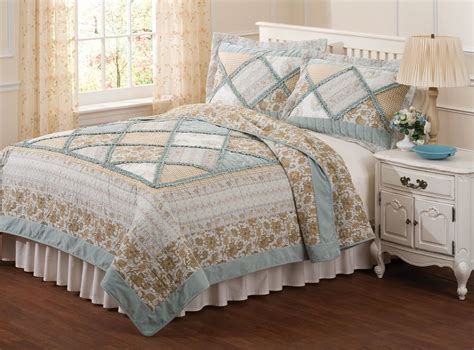 Bed Quilts Rag Style Quilt Country Blue Bedding Green