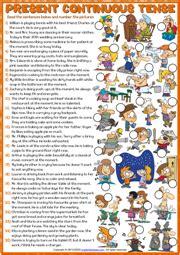 present continuous tense esl worksheets