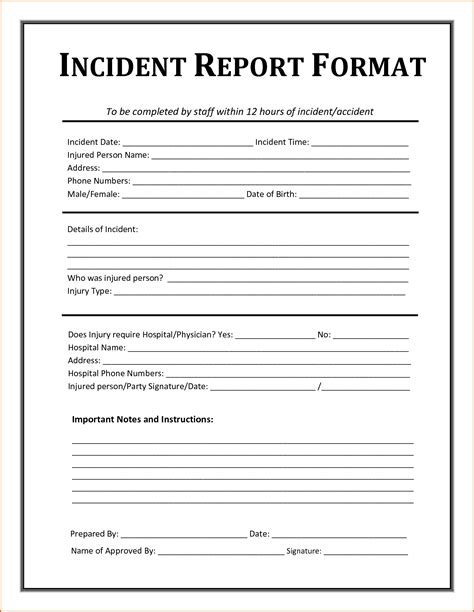 incident report form template 5 incident report template authorizationletters org