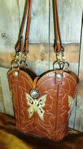 674 Brown butterfly cowboy boot purse, amber crystals, FREE INSERT BAG