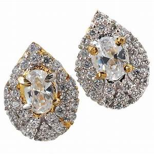 Buy Unique Gold American Diamond Stud Earrings Online